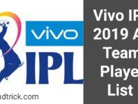 Vivo IPL 2019 All Team Player List