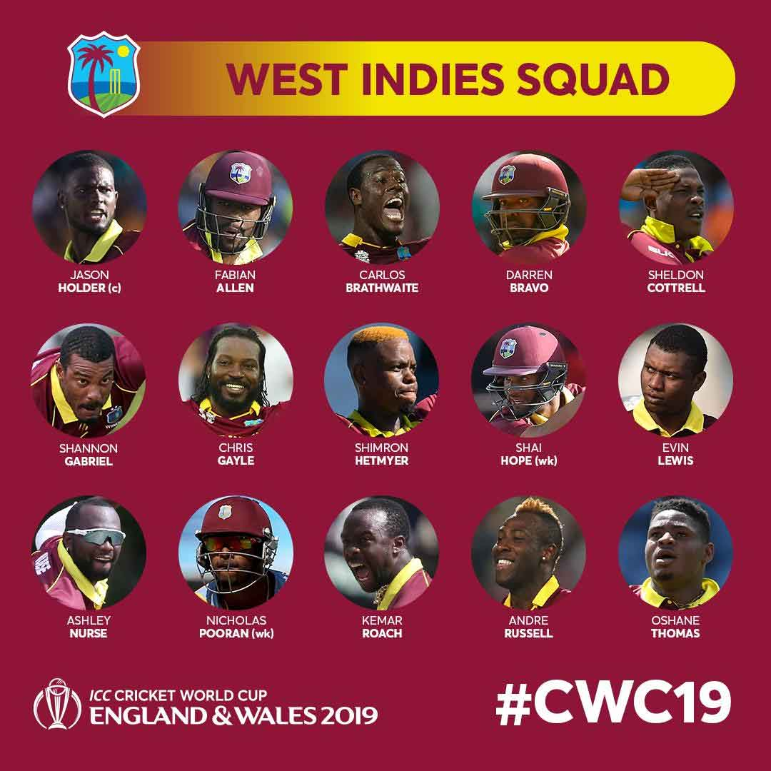 World Cup 2019-West Indies Team Player List And Captain