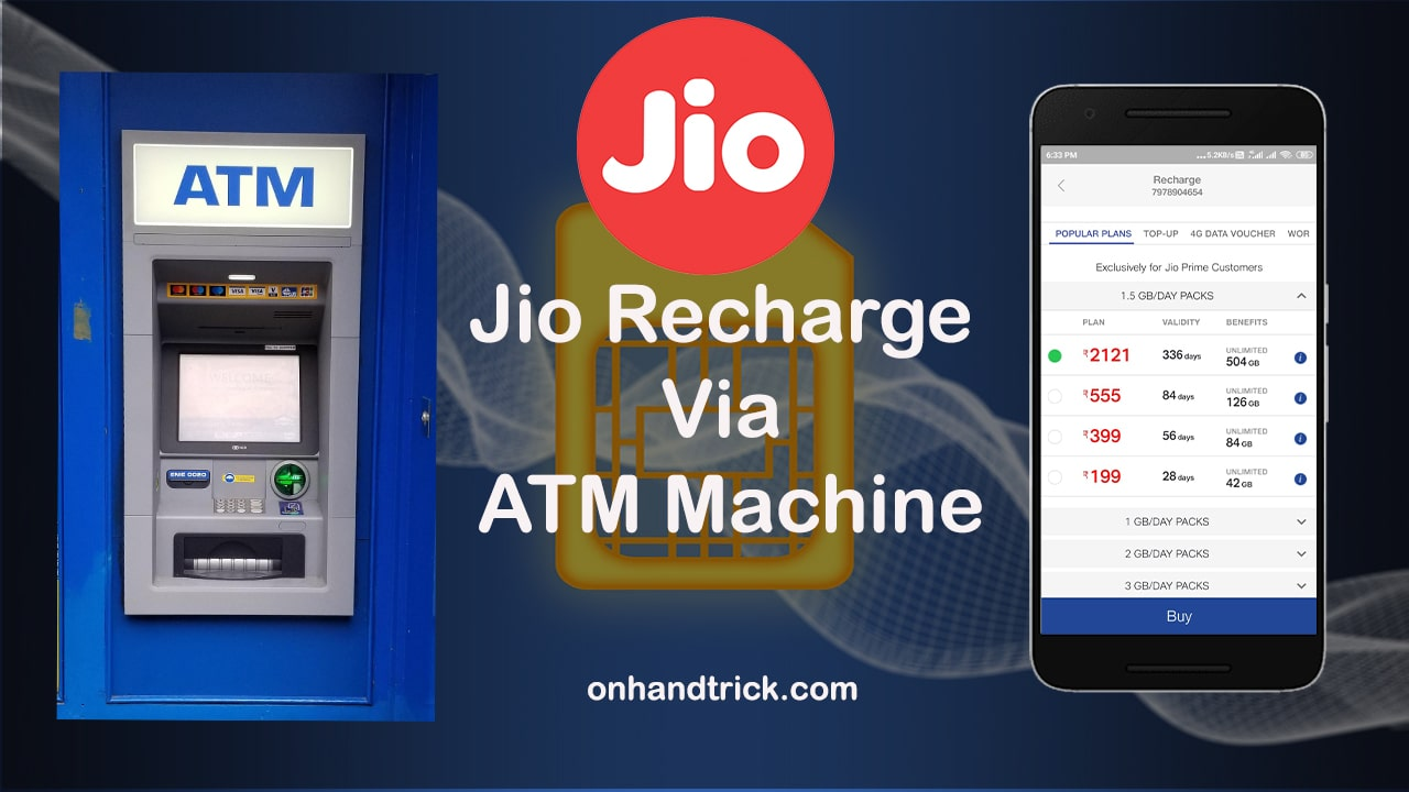 How To Recharge Jio Number Via ATM Machine